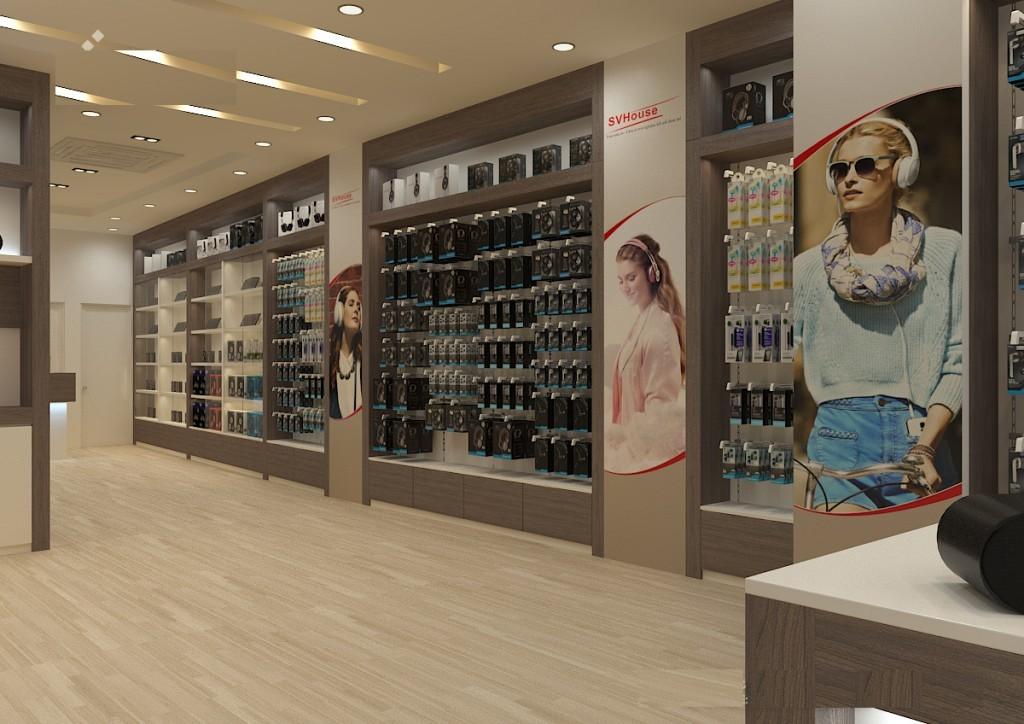 Hình ảnh minh họa khu vực bày hàng phía trong, chiều dài của showroom khá dài, càng đi sâu vào phía trong càng có nhiều hàng hóa