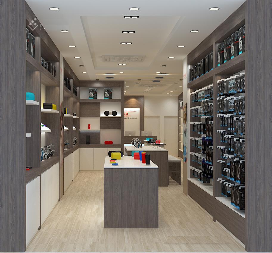 Mô hình showroom nhìn từ phía cửa vào, hình này là hình thiết kế, thực tế có khác 1 chút.