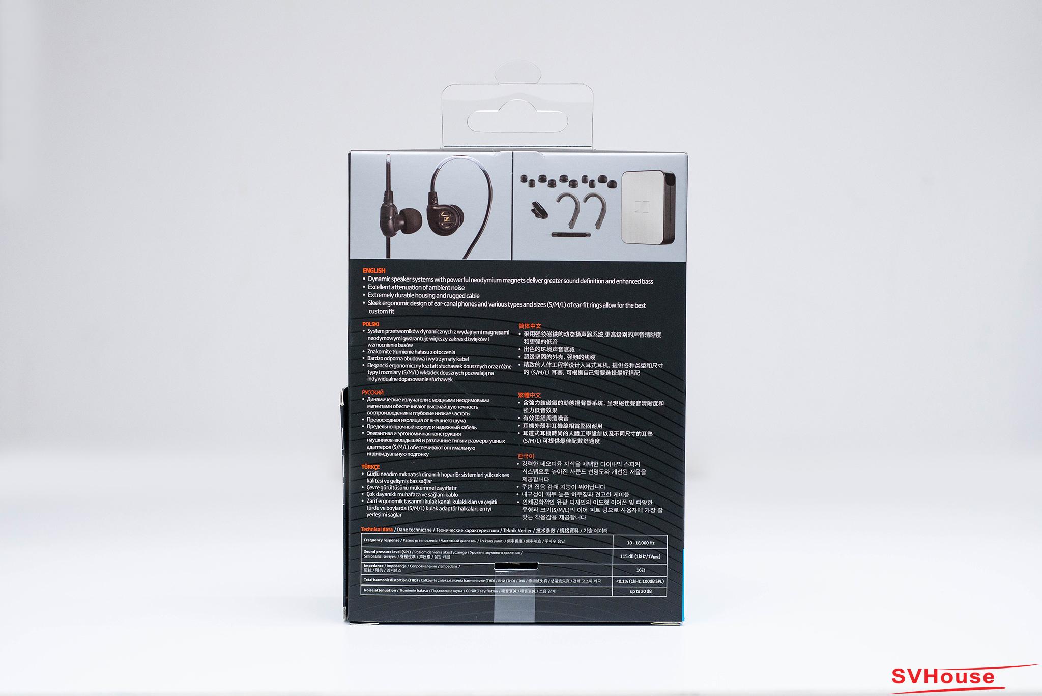 Quay lại mặt sau, vỏ hộp của IE60 cho chúng ta thấy những đặc tính thiết kế và thông số kỹ thuật của tai nghe