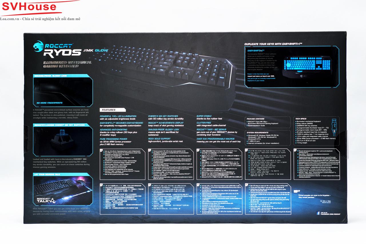 Mặt sau chiếc hộp diễn tả rõ hơn các chức năng trên bàn phím Ryos MK Glow, đặc biệt với phần tóm tắt tính năng bằng 9 thứ tiếng trong đó có tiếng Việt, một điều khá hiếm thấy trên các sản phẩm gaming chính hãng tại thị trường Việt Nam.