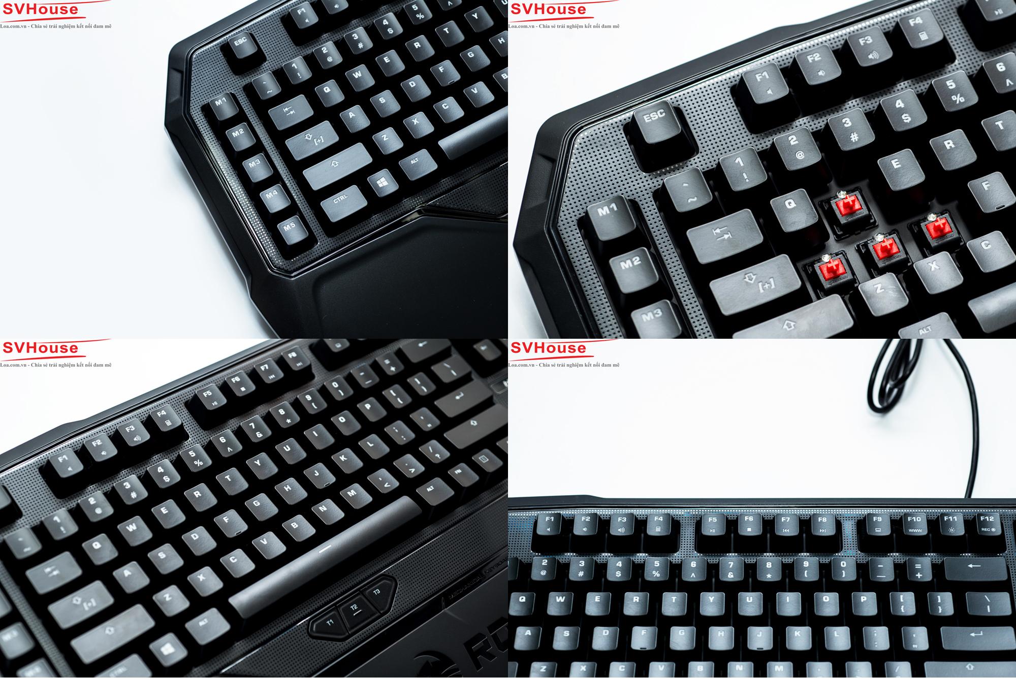 Toàn bộ Keycaps trên dòng Ryos MK đều được làm từ nhựa ABS cao cấp với các ký tự được khắc laser giúp xuyên led khá tốt cũng như đảm bảo sự bền bỉ sau nhiều năm sử dụng. Trừ cụm 3 phím Thumbster, tất cả các phím bấm trên Ryos MK Glow đều sử dụng công tắc cơ học của hãng Cherry, thương hiệu về Switch đã quá nổi tiếng của Đức. Trong bài này chiếc bàn phím của tôi sử dụng Cherry Red Switch, là switch dạng linear có lực ấn cực nhẹ, tạo độ thoải mái nhất định khi thao tác trong game cũng như typing. Toàn bộ dòng phím cơ của Roccat sử dụng Cherry Stabilizers, độ bền cao và giúp việc tháo keycaps cũng dễ dàng hơn. Không thể không nhắc đến là mỗi phím trên Ryos MK Glow đều được gắn 1 đèn led riêng biệt.