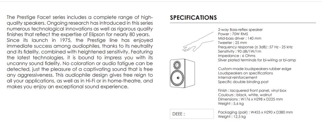 Thông số kỹ thuật của cặp Loa Elipson Prestige Facet 6B