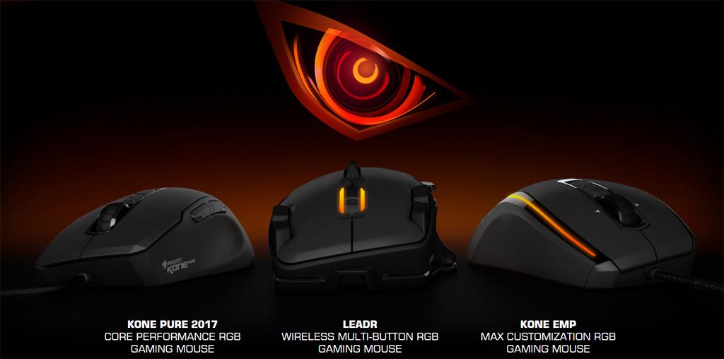 Cảm biến Owl-Eye được sử dụng trên 3 sản phẩm chuột chơi game của ROCCAT® là KONE PURE 2017, KONE EMP và LEADR