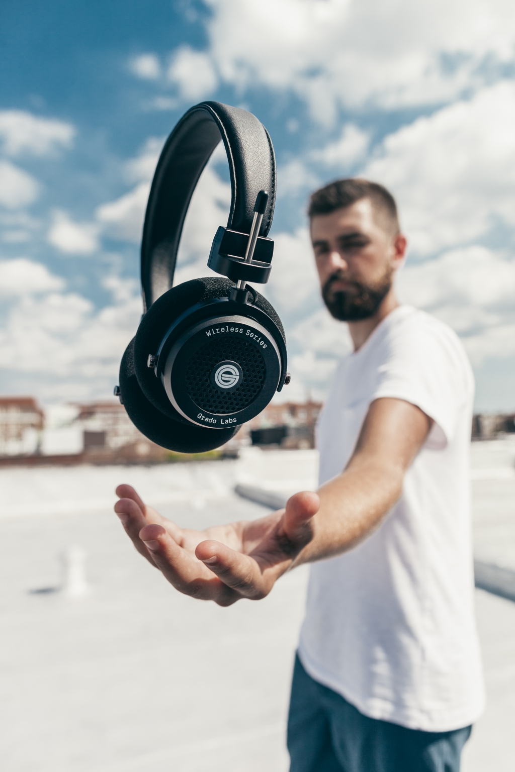 grado, grado labs, grado headphones, sunset park, brooklyn, brooklyn headphone company, three generations of sound, GW100, wireless, bluetooth, brooklyn, rooftop, sky, clouds