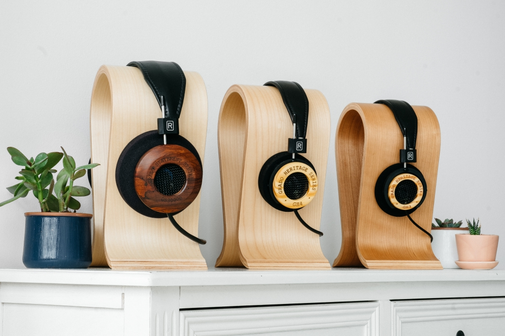 grado, grado labs, grado headphones, sunset park, brooklyn, handmade, hand-built, brooklyn headphone company, three generations of sound, heritage series, norwegian pine wood, stand, bedroom, limited edition